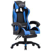 vidaXL Cadeira estilo corrida c/ apoio pés couro artificial azul/preto