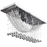 Lâmpada de teto + missangas cristal brilhantes, 8 x G9, 29 cm branco