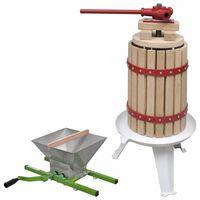 vidaXL 2 pcs conjunto de prensa e triturador de fruta e vinho