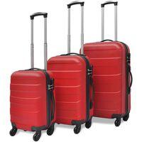 vidaXL Conjunto de três trolleys rígidos, vermelho