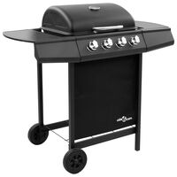 vidaXL Grelhador/barbecue a gás 4 discos preto