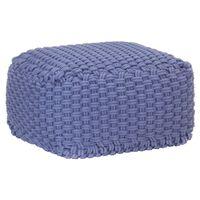 vidaXL Pufe tricotado à mão 50x50x30 cm algodão azul
