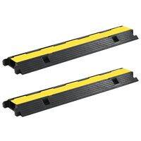 vidaXL Rampas protetoras de cabos 2 pcs 1 canal borracha 100 cm
