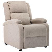 vidaXL Cadeira de TV reclinável tecido creme