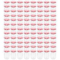vidaXL Frascos de vidro com tampas brancas e vermelhas 96 pcs 230 ml
