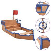 vidaXL Caixa de areia navio pirata 190x94,5x136 cm madeira de abeto