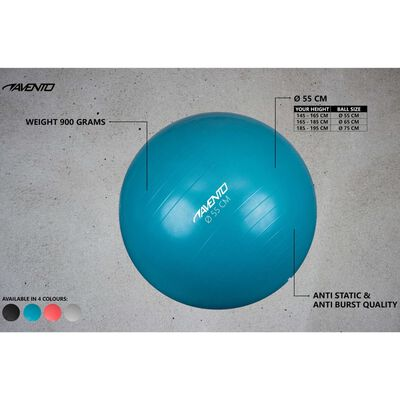 Avento Bola de fitness/ginásio 55 cm de diâmetro prateado