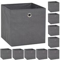 vidaXL Caixas arrumação 10 pcs não-tecido (TNT) 32x32x32 cm cinzento