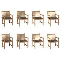 vidaXL Cadeiras de jardim c/ almofadões cinza-acast. 8 pcs teca maciça