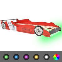 vidaXL Cama carro de corrida LED para crianças 90x200 cm vermelho