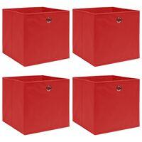 vidaXL Caixas de arrumação 4 pcs 32x32x32 cm tecido vermelho