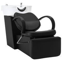 vidaXL Cadeira salão/cabeleireiro + lavatório couro art. preto/branco