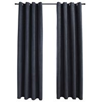 vidaXL Cortinas blackout c/ argolas em metal 2 pcs 140x245cm antracite
