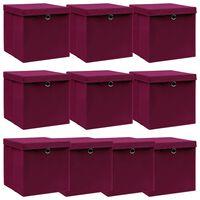 vidaXL Caixas arrumação + tampas 10pcs 32x32x32cm tecido vermelho esc.