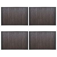 vidaXL Tapetes de casa de banho 4 pcs 60x90 cm bambu castanho-escuro