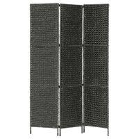 vidaXL Divisória com 3 painéis 116x160 cm jacinto de água preto