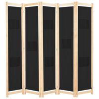 vidaXL Divisória de quarto com 5 painéis 200x170x4 cm tecido preto