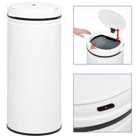 vidaXL Caixote do lixo com sensor automático 80 L aço carbono branco