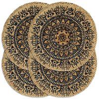 vidaXL Individuais de mesa 4 pcs juta 38 cm redondo azul-escuro