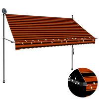 vidaXL Toldo retrátil manual com LED 250 cm laranja e castanho