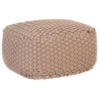 vidaXL Pufe tricotado à mão 50x50x30 cm algodão castanho