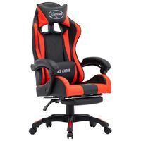 vidaXL Cadeira estilo corrida c/ apoio pés couro artif. vermelho/preto