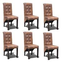 vidaXL Cadeiras de jantar 6 pcs couro artificial castanho