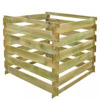 vidaXL Caixa de compostagem ripada 0,54 m3 quadrada madeira