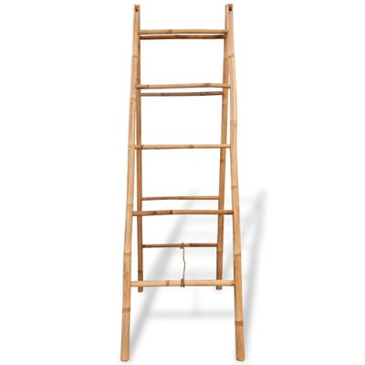 vidaXL Escada toalheiro dupla com 5 degraus, bambu, 50x160 cm