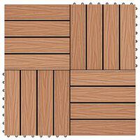 vidaXL Ladrilho pavimento relevo profundo 11 pcs WPC 1m² cor de teca