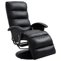vidaXL Poltrona de TV reclinável em couro artificial preto