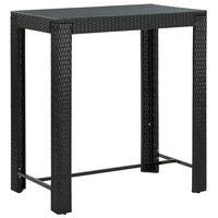 vidaXL Mesa de bar para jardim 100x60,5x110,5 cm vime PE preto