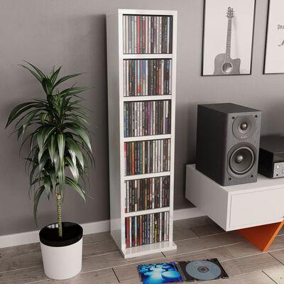 vidaXL Armário para CD 21x20x88 cm contraplacado branco brilhante