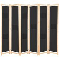 vidaXL Divisória de quarto com 6 painéis 240x170x4 cm tecido preto