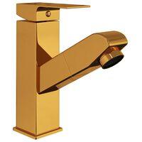 vidaXL Torneira extraível p/ lavatório casa de banho 157x172mm dourado