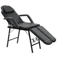 vidaXL Cadeira esteticista portátil couro artificial 185x78x76cm preto