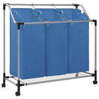 vidaXL Separador de roupa suja com 3 sacos aço azul
