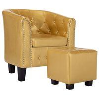vidaXL Poltrona com apoio de pés couro artificial dourado brilhante