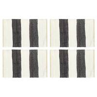 vidaXL Individual mesa 4 pcs chindi riscas 30x45 cm antracite e branco