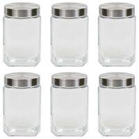 vidaXL Frascos de vidro com tampa prateada 6 pcs 1700 ml