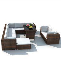vidaXL 10 pcs conjunto lounge jardim c/ almofadões vime PE castanho