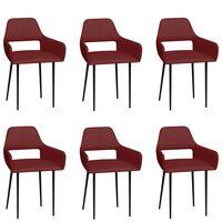 vidaXL Cadeiras de jantar 6 pcs couro artificial vermelho tinto