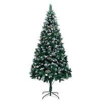 vidaXL Árvore de Natal artificial com pinhas e neve branca 240 cm