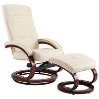 vidaXL Cadeira reclinável c/ apoio de pés couro artificial cor creme