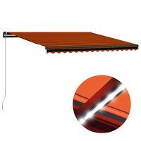 vidaXL Toldo retrátil manual com LED 450x300 cm laranja e castanho