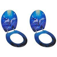 vidaXL Assentos de sanita com tampas 2 pcs MDF golfinho