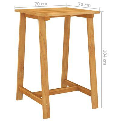 vidaXL Mesa de bar para jardim 70x70x104 cm madeira de acácia maciça