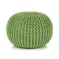 vidaXL Pufe tricotado à mão algodão 50x35 cm verde