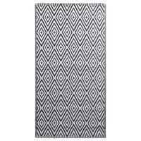 vidaXL Tapete de exterior 120x180 cm PP branco e preto