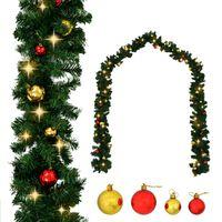 vidaXL Grinalda de Natal decorada com enfeites e luzes LED 5 m